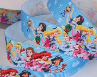 "Beautiful Princesses Printed Grosgrain Ribbon/1""(25 mm) width /DIY Hair Bow / Head band /Kids Craft Supplies"