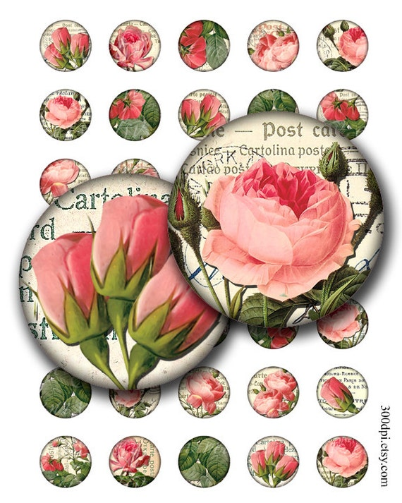victorian roses 1 inch round images Printable Download Digital Collage Sheet 1 inch circle diy altered art jewelry pendant bottle cap