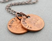 Family Penny Mother Necklace Hand Stamped by TheCopperFox