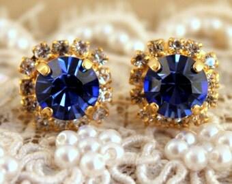Sapphire Blue Earrings Blue Capri Stud earrings , Swarovski Stud earrings Dark Blue Earrings Bridal Earrings Bridesmaids Earrings Blue Studs
