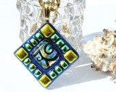 Mosaic Art Pendant, Dichroic Pendant, Fused Glass Jewelry, Abstract, Tribal, African, Geometric, Gold, Blue, Green (Item 10107-P)