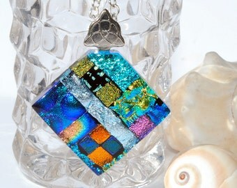 Abstract Mosaic Art Pendant, Dichroic Glass Pendant, Fused Glass Jewelry, Bright Colorful, Rainbow, Wearable Art, Unique Gift (Item 10513-P)