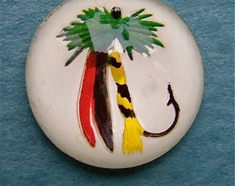BWB Nautical Fun //  Vintage Hand Painted reverse carved Fishing Lure Cab 13mm (1 pc) with White background