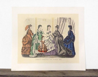 SHOP SALE! Vintage Godey's Fashions for 1870 Plates - March, May, September, December - Printed in Italy - Set of 4