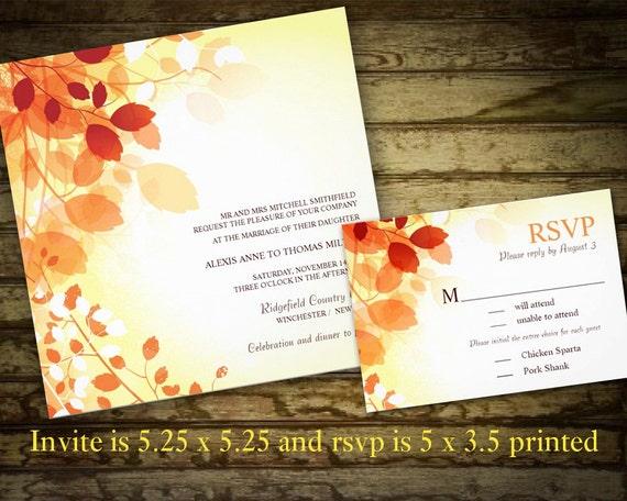 Diy Autumn Wedding Invitations: Items Similar To Fall Leaves Wedding Invitations Leaves