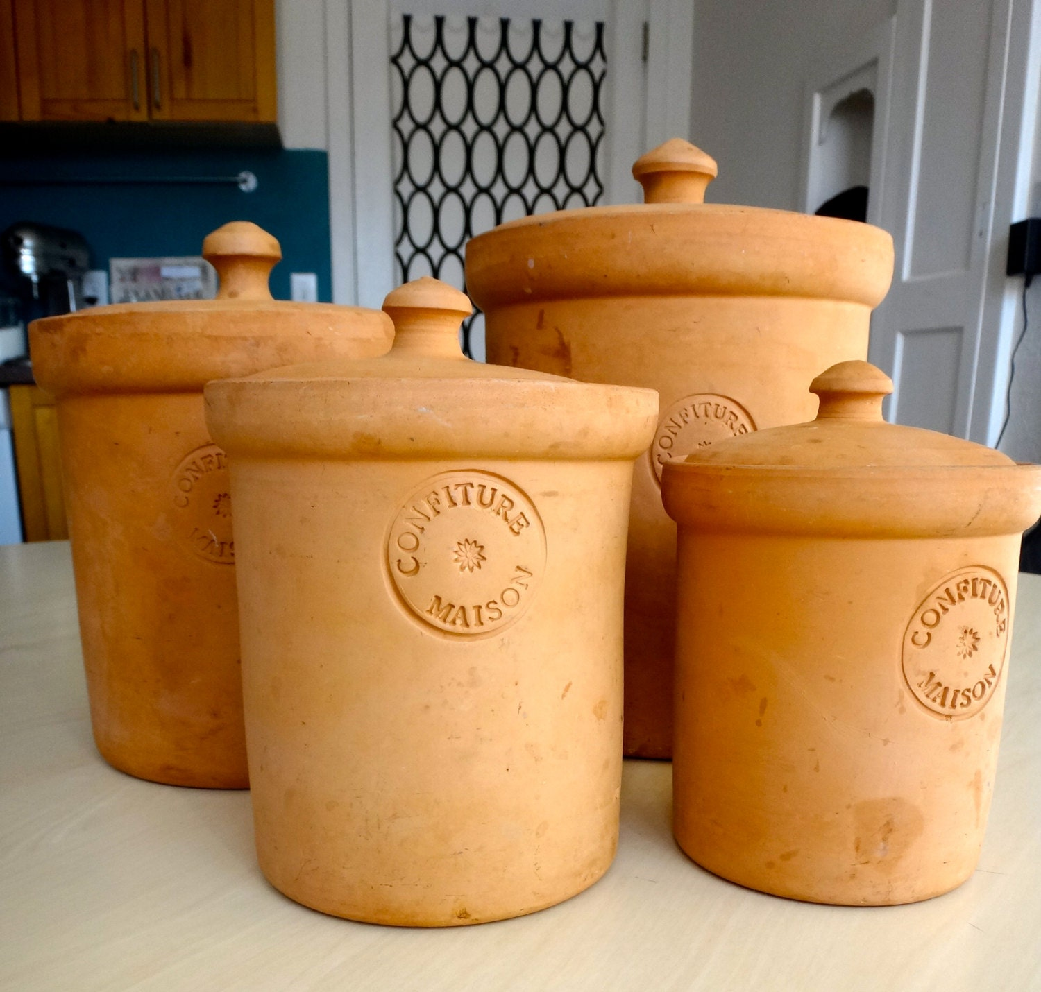 vintage kitchen canisters set of 4 terracotta