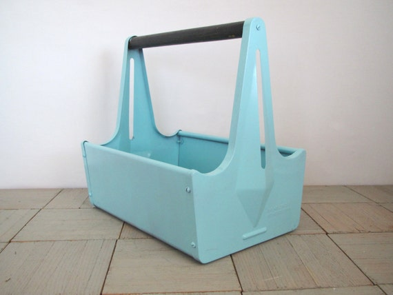 Industrial storage...... metal tool box....... tall handle .......aqua