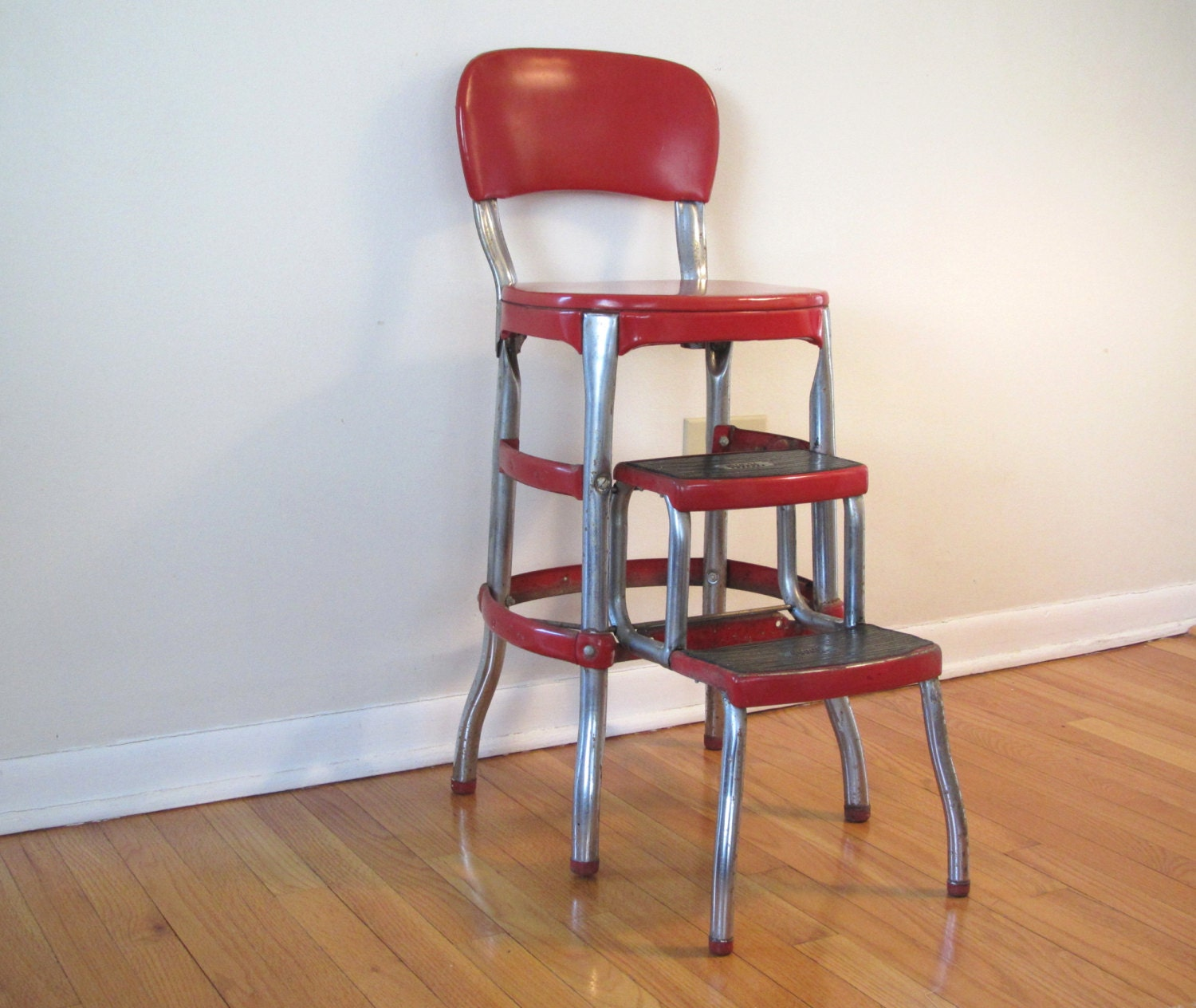 Vintage Cosco Stool Retro Red Kitchen Stool