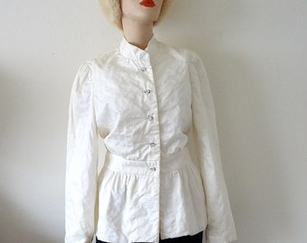 1960s Mod Jacket  / white cotton suit coat / designer vintage from saks