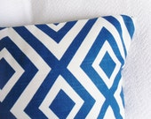 Custom Listing: (2) 14x22 Navy Blue and White Diamond Ikat Graphic Pillow Covers