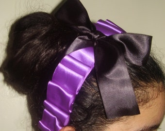 FRIDA BRAID - Headband Is Made With Satin Ribbon And On the Center is a Black Bow, Rockerbilly Headpiece, Dia De Los Muertos, Hand Made