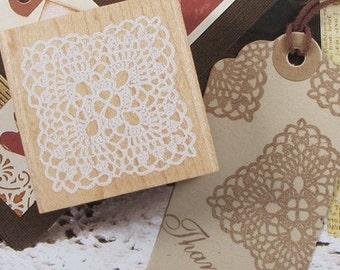 1 Pcs Korea DIY Wood Lace Rubber Stamp