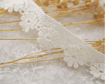 2Yards Lace Fabric Doily Trim Cotton Fabric Trim Embroidery Cotton Gauze