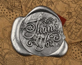 Wax Seal Stamp Vintage Dripping Wax Seal Stamp Set  - Thank You