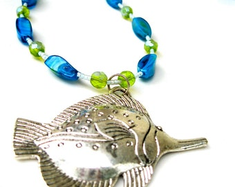 Fish Pendant Necklace, Nautical Style, Nature Jewelry, Coastal Style, Blue and Green Lampwork, Resort Style