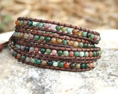 Leather Wrap Bracelet -Fancy Jasper beads on leather