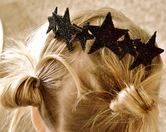 Black pure glass glitter sparkle STAR CROWN skinny metal HEADBAND hair piece with large and small stars fits all ages