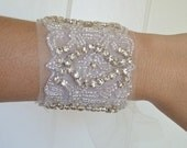 Bridal beaded bracelet, crystal bracelet, vintage bridal cuff, rhinestone bracelet, Bridesmaid gift, bridesmaid bracelet - VANESSA