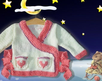 Hand Knitted Baby Wrap Style Cardigan with hearts up to 3 m born or reborn baby