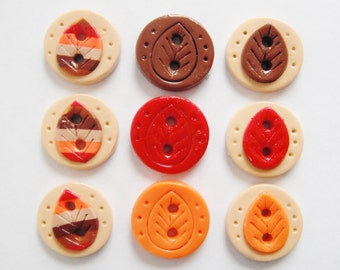 Button Striped Fall Leaves handmade polymer clay buttons ( 9 )