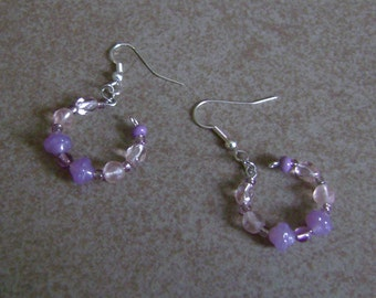 A Touch of Just Glass Lavender Pink Beaded Silver Hoop Earrings