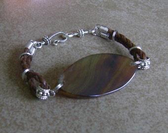 Men's Sliced Banded Agate Stone and Leather Pendant Bracelet