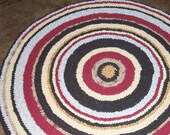 Fabric Rag Rug; Handmade Crochet in Brown, Yellow, Red and Cream