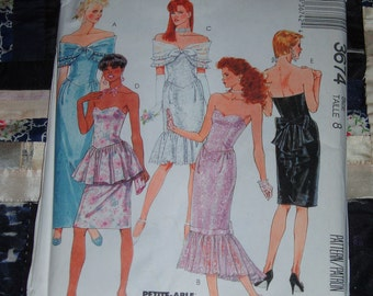 1988 McCalls Pattern 3674 for Misses Gown, Dress and Shawl Size 8 Uncut, Factory Folds
