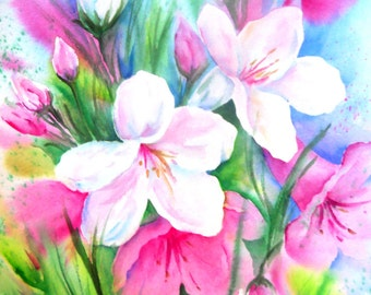 Watercolor Garden Flowers White Pink by Martha Kisling