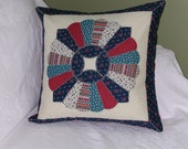 Hand Quilted PILLOW Covers DRESDEN PLATE in Navy Blue and Red