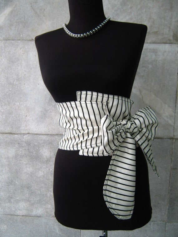 Textile belt corset black and white by anitedesign on Etsy