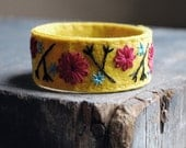 Felt Bracelet Cuff Hand Embroidered Mustard Yellow Wool Felt with Scarlet Red and Turquoise Embroidery by love maude