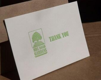Custom Folded Note Cards, Custom designed letterpress printed, set of 50. eco friendly