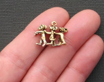 5 Three Blind Mice Charms Antique Gold Tone Just Adorable 3D -  GC150