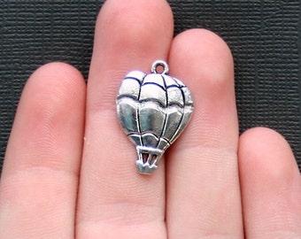 6 Hot Air Balloon Charms Antique  Silver Tone - SC2217