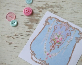 Mini notecards - small notecards - shabby cottage chic notecards - golden border with roses - pretty notecards