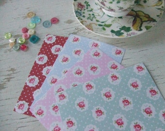 Rose notecards - roses and polka dots - green - pink - red - blue - rose notecards - embellishments