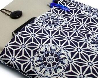 iPad Air case, iPad cover, iPad sleeve/ Samsung Galaxy Tab 3 10.1 with 2 pockets, PADDED - Japanese Pattern on Blue