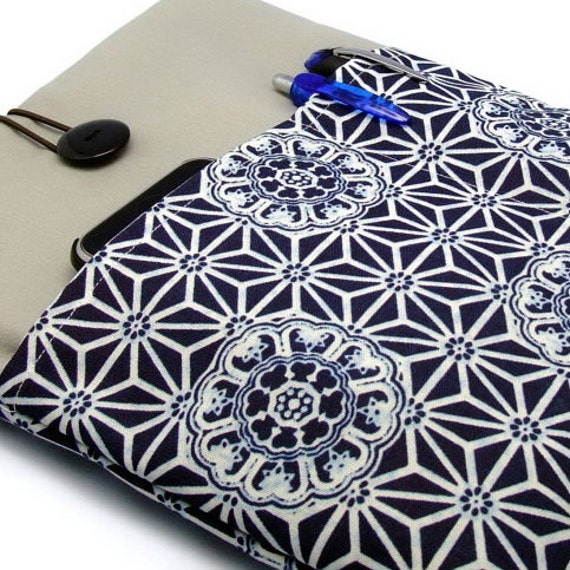 iPad Air case, iPad cover, iPad sleeve/ Samsung Galaxy Tab 3 10.1 with 2 pockets, PADDED - Japanese Pattern on Blue