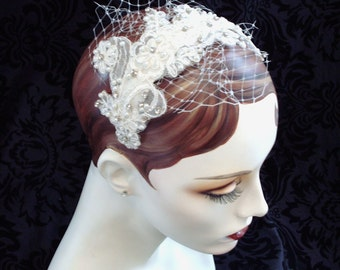 Anna, Ivory Lace Bridal Headpiece With Petite Veil, Weddings, Wedding Headpiece, Bridal Hair Accessories,  Lace Fascinator