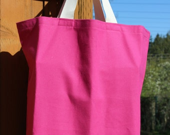 Canvas Tote Bag / Pink Canvas Reusable Shopping Bag, Go Green. Ready To Ship!
