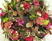 Burlap Wreath, Deco Burlap Door Wreath, Spring Wreath, Funky Burlap Wreath, Animal Print Door Wreath