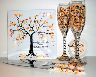 Fall Autumn Hand Painted Champagne Flutes & Cake Knife and Server Set Ring Dish and Cake Plate Fall Leaves Wedding Anniversary Orange Yellow