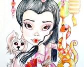 Geisha and Snake Big Eye Fantasy Art Print 8.5 x 11