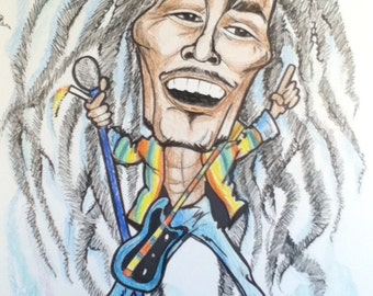 Bob Marley Rock Portrait Rock and Roll Caricature Music Art by Leslie Mehl