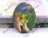 10x14mm,13x18mm,18x25mm,20x30mm,30x40mm Oval Glass Cabochons Cameo, jewelry Cabochons finding beads,colourful women portraits cabochons--02