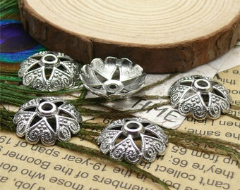 30pcs of Antique Silver big metal flower bead cups 19mm,beadcap findings,findings beads
