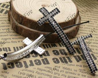2pcs of 24x54mm silver tone Sideways Cross black and white Rhinestone Connector,Cross Bracelet Connector,bangle findings