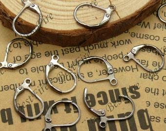 20 pcs of Gunmetal black brass leverback earwire 10X16mm,earring findings
