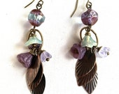 Handmade Brass Flower and Leafs Chandelier Earrings With Purple, Light Blue, And Light Blue Flowers